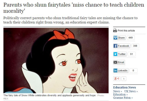 Parents who shun fairytales miss chance to teach children morality